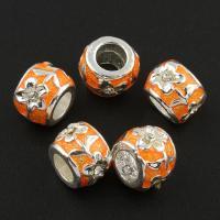 Strass Zinklegierung Perlen, Trommel, silberfarben plattiert, Emaille & mit Strass, frei von Blei & Kadmium, 9x9x7mm, Bohrung:ca. 3mm, 10PCs/Tasche, verkauft von Tasche