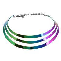 Eisen Collier, mit Verlängerungskettchen von 5.12Inch, Twist oval & für Frau, farbenfroh, frei von Nickel, Blei & Kadmium, 30mm, Innendurchmesser:ca. 80mmmm, verkauft von PC