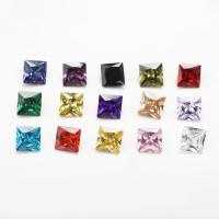 Kubischer Zirkonia Kabochons, Quadrat, verschiedene Größen vorhanden & Rivoli-Rückseite, gemischte Farben, Grade AAAAA, 15PCs/Tasche, verkauft von Tasche