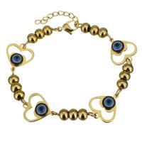 Edelstahl Armband, mit Harz, mit Verlängerungskettchen von 1Inch, Herz, goldfarben plattiert, böser Blick- Muster & für Frau, 17x15mm, 4.5x6mm, verkauft per ca. 7 ZollInch Strang
