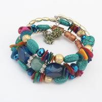 Zinklegierung Wrap Armband, mit Strass & Harz, plattiert, für Frau & 3-Strang, keine, 15mm, verkauft per ca. 23.6 ZollInch Strang
