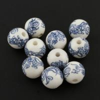 Porzellan Schmuckperlen, weiß, 12mm, 100PCs/Tasche, verkauft von Tasche