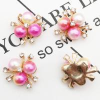 Zinklegierung Haar Accessories DIY Zubehöre, mit Kunststoff Perlen, goldfarben plattiert, mit Strass, frei von Nickel, Blei & Kadmium, 20x20mm, 10PCs/Menge, verkauft von Menge