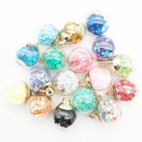 Zinklegierung Anhänger, mit Pailletten & Glas, goldfarben plattiert, Koreanischen Stil, keine, frei von Nickel, Blei & Kadmium, 16x21mm, Bohrung:ca. 2-3mm, 10PCs/Menge, verkauft von Menge