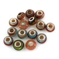 Lampwork Perle, mit Messing, Trommel, antik silberfarben plattiert, gemischte Farben, 14x8mm-12x8mm, Bohrung:ca. 4mm, 50PCs/Tasche, verkauft von Tasche