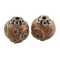 Indonesien Perle, mit Zinklegierung, rund, antik silberfarben plattiert, 16x15mm, Bohrung:ca. 1.5mm, verkauft von PC
