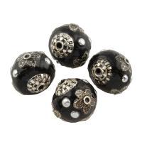 Indonesien Perle, mit Zinklegierung, rund, antik silberfarben plattiert, 15x14x13mm, Bohrung:ca. 1mm, verkauft von PC