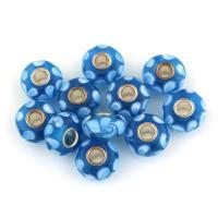 Lampwork Perle, mit Messing, Trommel, Platinfarbe platiniert, 15x7x15mm, Bohrung:ca. 4mm, 10PCs/Tasche, verkauft von Tasche