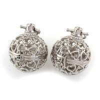 Messing Bola Ball Anhänger, rund, Platinfarbe platiniert, hohl, frei von Nickel, Blei & Kadmium, 30x24x29mm, Bohrung:ca. 3x9mm, verkauft von PC
