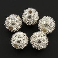 Zinklegierung Perlen Einstellung, rund, silberfarben plattiert, frei von Blei & Kadmium, 12x12x12mm, Bohrung:ca. 1mm, 10PCs/Tasche, verkauft von Tasche