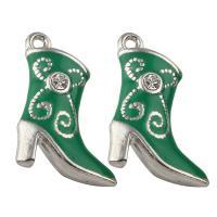 Zinklegierung Schuhe Anhänger, Platinfarbe platiniert, Emaille & mit Strass, frei von Blei & Kadmium, 15x21x5mm, Bohrung:ca. 1mm, 10PCs/Tasche, verkauft von Tasche