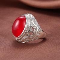 Messing Open -Finger-Ring, mit Chalzedon, platiniert, unisex, keine, Bohrung:ca. 2-3mm, Größe:7, verkauft von PC