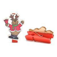 Holz Greifer-Dekoration, Weihnachtsmann, verschiedene Stile für Wahl, rot, 3.5x2.5cm, 3Taschen/Menge, verkauft von Menge