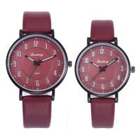 Ehepaar Uhrenarmbänder, PU Leder, mit Glas & Edelstahl, flache Runde, unisex & für paar, keine, 37x32x8mm, Länge:ca. 10 ZollInch, 2PCs/Menge, verkauft von Menge
