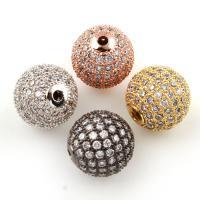 Befestigte Zirkonia Perlen, Messing, rund, plattiert, Micro pave Zirkonia, keine, frei von Nickel, Blei & Kadmium, 12mm, Bohrung:ca. 1.2mm, verkauft von PC