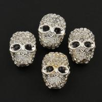 Strass Zinklegierung Perlen, Schädel, silberfarben plattiert, mit Strass, frei von Blei & Kadmium, 11x16x9mm, Bohrung:ca. 1mm, 10PCs/Tasche, verkauft von Tasche