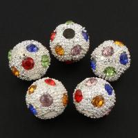 Strass Zinklegierung Perlen, rund, silberfarben plattiert, mit Strass, frei von Blei & Kadmium, 12mm, Bohrung:ca. 3mm, 10PCs/Tasche, verkauft von Tasche