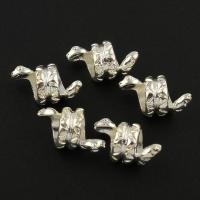 Zink Legierung Europa Perlen, Zinklegierung, Schlange, silberfarben plattiert, ohne troll, frei von Blei & Kadmium, 12x8mm, Bohrung:ca. 5mm, 10PCs/Tasche, verkauft von Tasche