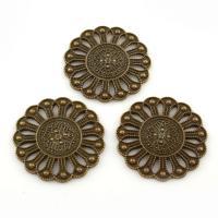 Zinklegierung Schmuck Cabochons, Blume, antike Bronzefarbe plattiert, frei von Blei & Kadmium, 29x2mm, ca. 33PCs/Tasche, verkauft von Tasche