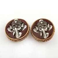 Zinklegierung Anhänger, mit Indonesien, flache Runde, antike Kupferfarbe plattiert, frei von Blei & Kadmium, 30x15mm, Bohrung:ca. 1mm, verkauft von PC