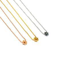 Titanstahl Halskette, Chrysamthemum, plattiert, Oval-Kette & für Frau, keine, 16x14mm, verkauft per ca. 15 ZollInch Strang