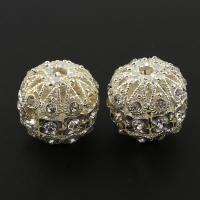 Strass Zinklegierung Perlen, silberfarben plattiert, mit Strass, frei von Blei & Kadmium, 17x18mm, Bohrung:ca. 2.5mm, 5PCs/Tasche, verkauft von Tasche