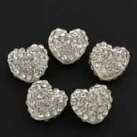 Zinklegierung Perle, mit Lehm pflastern, flacher Herz, mit Strass, frei von Blei & Kadmium, 12x11x7mm, Bohrung:ca. 1.5mm, 10PCs/Tasche, verkauft von Tasche