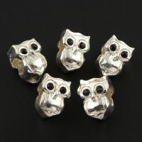 Zink Legierung Europa Perlen, Zinklegierung, Eule, silberfarben plattiert, ohne troll & mit Strass, frei von Blei & Kadmium, 8x11x10mm, Bohrung:ca. 5mm, 10PCs/Tasche, verkauft von Tasche