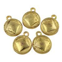 Zinklegierung flache runde Anhänger, antike Goldfarbe plattiert, frei von Blei & Kadmium, 13x17x3mm, Bohrung:ca. 2mm, 10PCs/Tasche, verkauft von Tasche