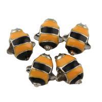 Zink Legierung Europa Perlen, Zinklegierung, Biene, Platinfarbe platiniert, ohne troll & Emaille, frei von Blei & Kadmium, 10x13x7mm, Bohrung:ca. 4.5mm, 10PCs/Tasche, verkauft von Tasche