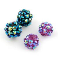 Zinklegierung Perle, mit Lehm pflastern, rund, verschiedene Stile für Wahl & mit Strass, frei von Blei & Kadmium, Bohrung:ca. 2mm, 100PCs/Tasche, verkauft von Tasche