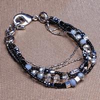 Zinklegierung Armband, mit Glasperlen, goldfarben plattiert, für Frau & 5-litzig, keine, frei von Nickel, Blei & Kadmium, verkauft per ca. 7 ZollInch Strang