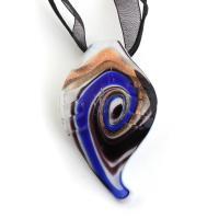 Lampwork Halskette, mit Stoff & Messing, mit Verlängerungskettchen von 5cm, für Frau & Goldsand, 38x64x17mm, verkauft per ca. 16.5 ZollInch Strang