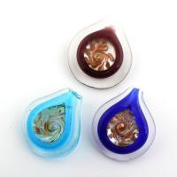 Goldsand Lampwork Anhänger, gemischte Farben, 45x53mm-39x44mm, Bohrung:ca. 8mm, 5PCs/Tasche, verkauft von Tasche