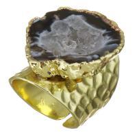 Messing Manschette Fingerring, mit Eisquarz Achat, vergoldet, unisex, 27mm, Größe:6, verkauft von PC