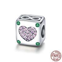 Thailand European Perlen, Würfel, Micro pave Zirkonia & ohne troll & hohl, 10x10mm, Bohrung:ca. 4.5-5mm, verkauft von PC