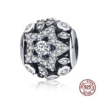 Thailand European Perlen, Stern, plattiert, Micro pave Zirkonia & ohne troll & hohl, 11x10mm, Bohrung:ca. 4.5-5mm, verkauft von PC