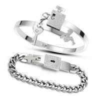 Edelstahl Paar -Armband, für paar, 4mm, 14mm, Innendurchmesser:ca. 57mm, Länge:ca. 8.26 ZollInch, 2PCs/setzen, verkauft von setzen