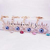 Zinklegierung Schlüsselanhänger, mit Kristall & Harz, Auge, goldfarben plattiert, mit Strass, keine, 58x146mm, verkauft von PC