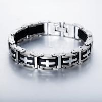 Titanstahl Armband, mit Silikon, Kreuz, für den Menschen, 14mm, verkauft per ca. 8.5 ZollInch Strang