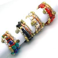 Zinklegierung Armband, mit Messing Strass Zwischenstück & Achat & Kristall, mit Verlängerungskettchen von 1.5inch, plattiert, Bohemian-Stil & für Frau & 3-Strang & facettierte, keine, verkauft per ca. 26 ZollInch Strang