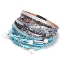 PU Leder Wrap Armband, mit Glasperlen & Zinklegierung, Blatt, antik silberfarben plattiert, für Frau & mit Strass & 2 strängig, keine, 15mm, verkauft per ca. 14.8 ZollInch Strang