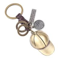Zinklegierung Schlüsselanhänger, mit Rindsleder Schnur, Hut, plattiert, mit Brief Muster, frei von Nickel, Blei & Kadmium, 30x110mm, verkauft von PC