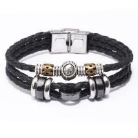 Kuhhaut Armband, mit Hämatit & Zinklegierung, Edelstahl glatt Schnalle, plattiert, verschiedene Stile für Wahl & für den Menschen, 13mm, verkauft per ca. 7.8 ZollInch Strang