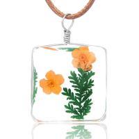 Lampwork Halskette, mit Gewachste Nylonschnur, für Frau & Aufkleber, 25x35mm, verkauft per ca. 19.6 ZollInch Strang