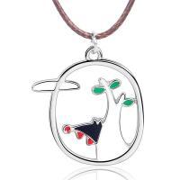 Zinklegierung Halskette, mit Gewachste Nylonschnur, silberfarben plattiert, für Frau & Emaille, frei von Blei & Kadmium, 20x30mm, verkauft per ca. 15.7 ZollInch Strang