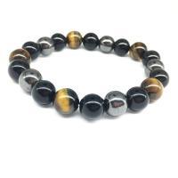 Natürliche Tiger Eye Armband, Tigerauge, mit Obsidian & elastischer Faden & schwarzer Stein, elastisch & unisex, 10mm, verkauft per ca. 8 ZollInch Strang