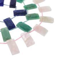 Mischedelstein Perlen, Edelstein, Rechteck, verschiedenen Materialien für die Wahl, 30x15x7mm, Bohrung:ca. 1mm, 13PCs/Strang, verkauft per ca. 15.3 ZollInch Strang