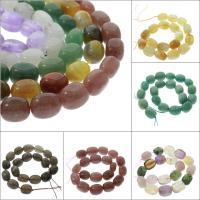 Mischedelstein Perlen, Edelstein, oval, verschiedenen Materialien für die Wahl, 19x15x14mm, Bohrung:ca. 1mm, verkauft per ca. 15.5 ZollInch Strang