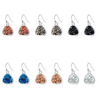 Zinklegierung Tropfen Ohrring, mit Kunststoff, silberfarben plattiert, für Frau, keine, 14x19mm, verkauft von Paar